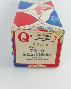 QRS Player Piano Roll Cassions Army Go Rolling Along 7619 Special Edition Box