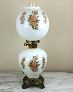 GWTW Milk Glass Hurricane Lamp Floral Victorian Gone With the Wind Antique