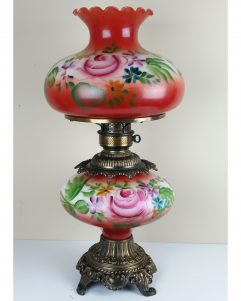 Red Floral Hurricane GWTW Table Lamp CottageCore