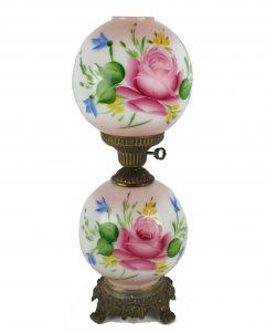 Pink Floral Hand Painted GWTW Hurricane Lamp Gone With The Wind