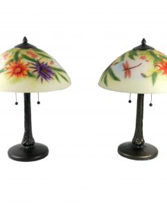 Reverse Painted Floral Dragonfly Table Lamps