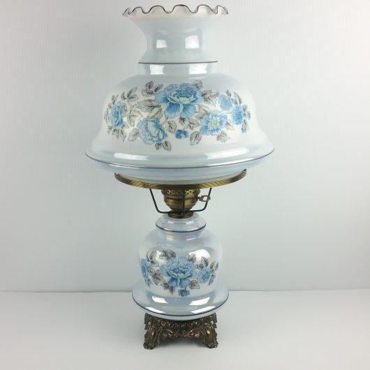 Vintage Iridescent Blue Floral Hurricane Lamp Parlor Table Gone With The Wind 26""