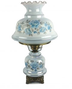 """Vintage Iridescent Blue Floral Hurricane Lamp Parlor Table Gone With The Wind 26"""""""