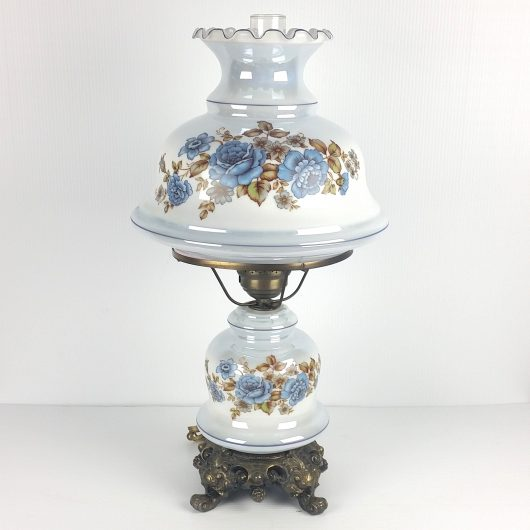 """27"""" Iridescent Blue Hurricane GWTW Table Lamp Floral Vintage 3-way HUGE!"""
