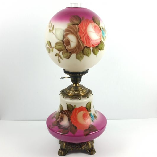 "MASSIVE 27"" Hand Painted Floral GWTW Hurricane Lamps Gone With The Wind MINT!"